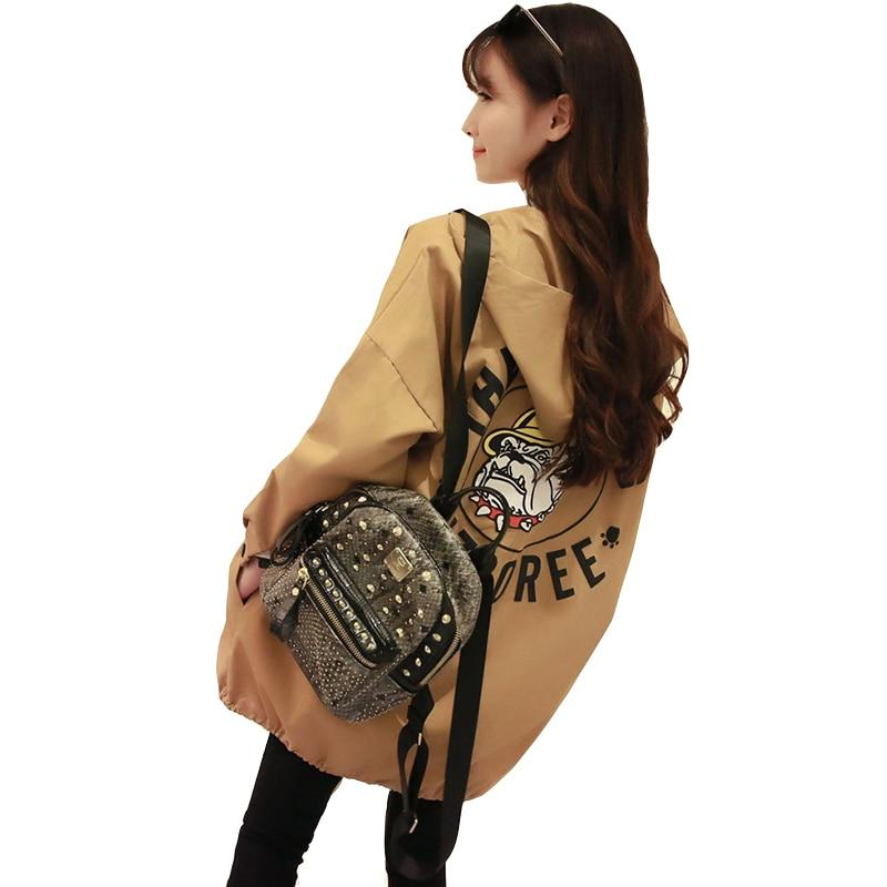 New Fashion Women   Trench   Female Korean Style Coat Womens Loose Top Trendy Long Windbreaker Females Hooded Printed Animal Pockets