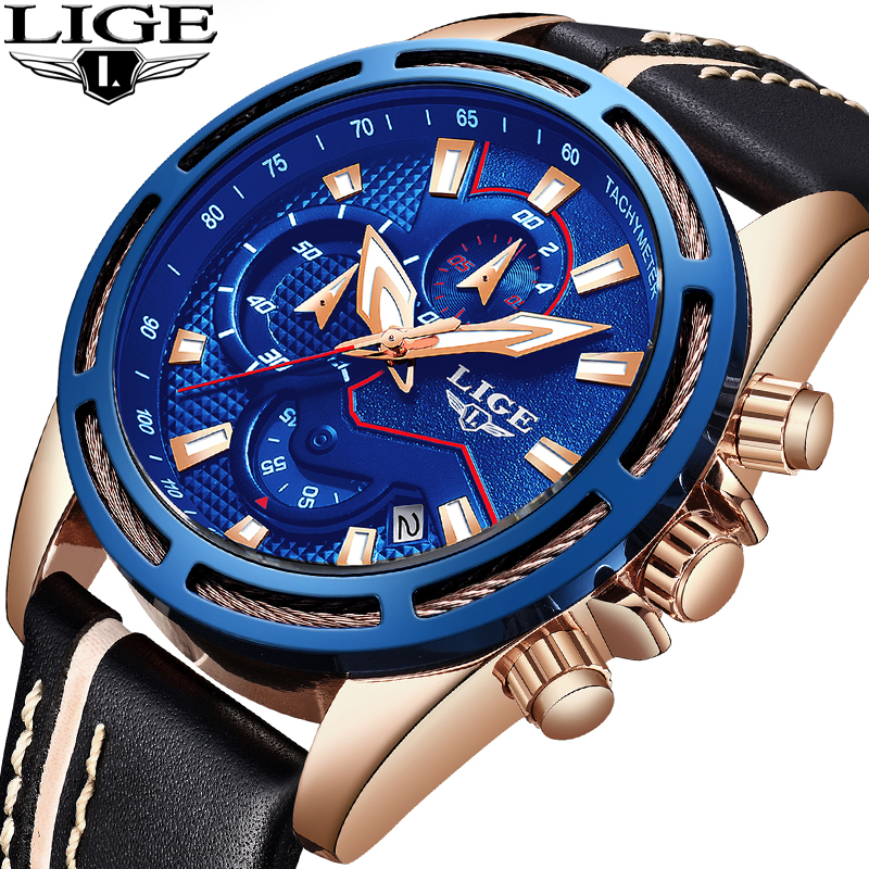 Men Watches LIGE Top Brand Luxury Fashion Business Watch Men Military Waterproof Chronograph Male Sports Watch Relogio Masculino