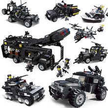 City Police Series SWAT Building Block Brick Kids Educational DIY Weapons Aircraft Car Robot Toys Helicopter Compatible LegoINGs enlighten city series police swat car building block sets kids educational bricks toys compatible with legoe
