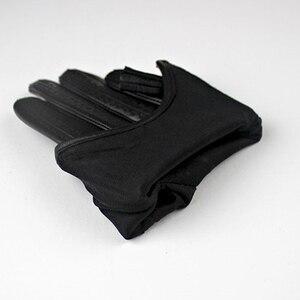 Image 5 - 2018 модные популярные перчатки для сенсорного экрана из натуральной козьей кожи импортные короткие черные женские модели из козьей кожи на молнии с кисточками
