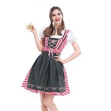 S 6XL 2020 yetişkin kadın Oktoberfest kostüm Oktoberfest bavyera Dirndl hizmetçi köylü süslü elbise parti kadın Oktoberfest elbise