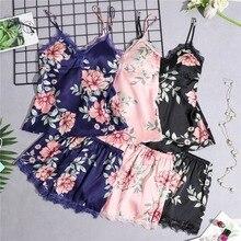 Daeyard Women's Pajamas Silk Floral Overall Print 5Pcs Pajama Set Satin Pyjamas Sexy Lace Pijama Nightie Sleepwear Home Clothes
