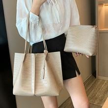 2 Pcs Women Shoulder Bag Set Ruched Crocodile Alligator Ladies Composite Large Capacity Female Handbag Shopping Travel Bags