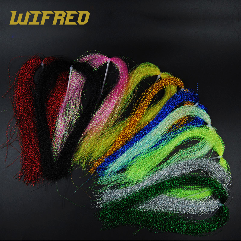 Wifreo 10 Packs Sparkle Flashabou Tinsels Black Chartreuse Pearl Pink Color Sabiki Treble Hook Lure Flash Fly Tying Material 5sheets pack 10cm x 5cm holographic adhesive film fly tying laser rainbow materials sticker film flash tape for fly lure fishing