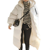 Thick Loose Large Size White Black Hooded Womens Winter Jackets Cotton Padded Fashion Winterjas Wadded Overcoat