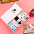 Spring and summer women's Fashion Design cotton lattice Boat socks New Arrivals Women casual socks (with gift box)