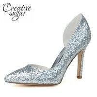 Creativesugar дамская острым носом Орсе 3D блеск насосы золото серебро металлические высокие каблуки пром ночной клуб вечерняя обувь