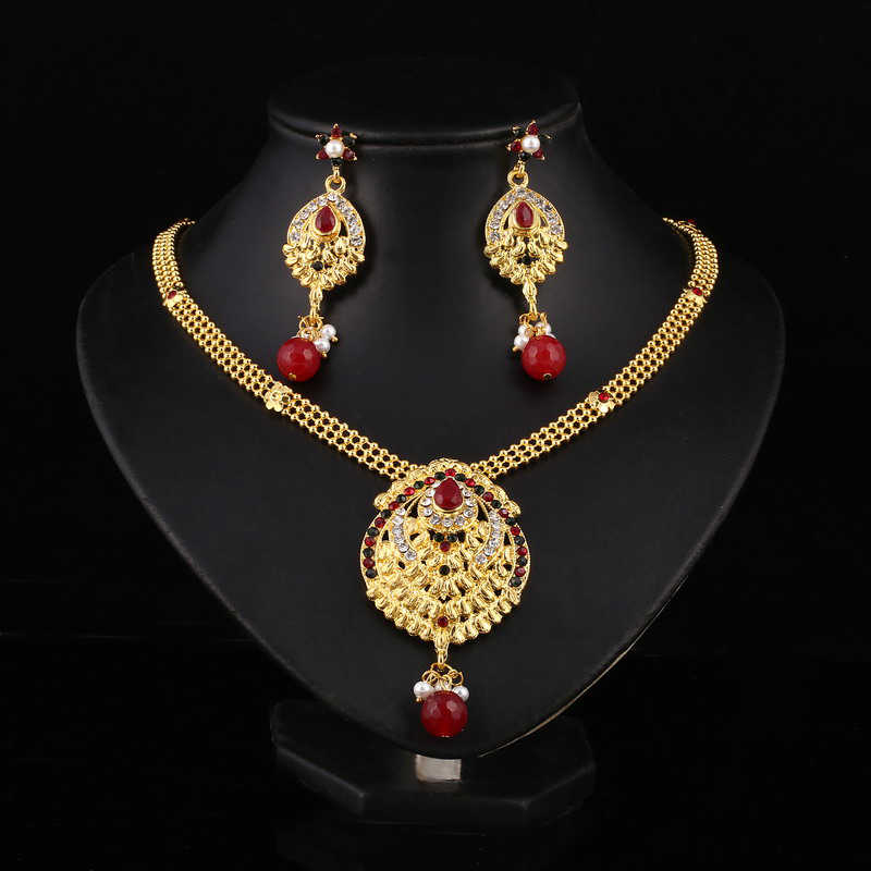 Wedding jewelry sets statement necklace earrings parure bijoux femme jewellery set for women indian Gold crystal bridal
