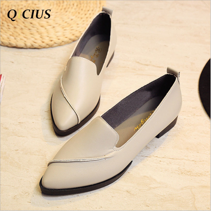 QICIUS 2017 New Autumn Women Flats Leather Pointed Toe Flats Woman Casual Shoes Oxfords With Sewing Flats Shoes B0007 pu pointed toe flats with eyelet strap