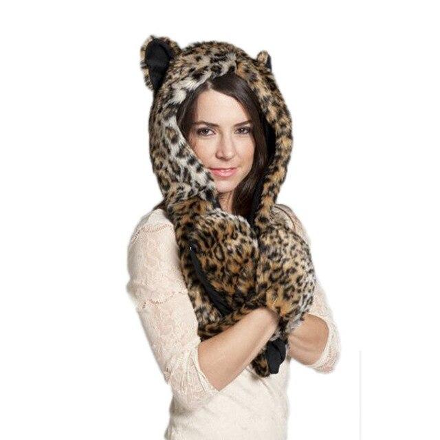 Otoño invierno Cap mujeres gorros Animal patrón Faux Fur una pieza ...