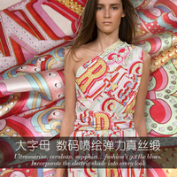 Large letter printed stretch silk satin fabric soft cheongsam silk fabric for dress chinese silk fabric wholesale silk cloth