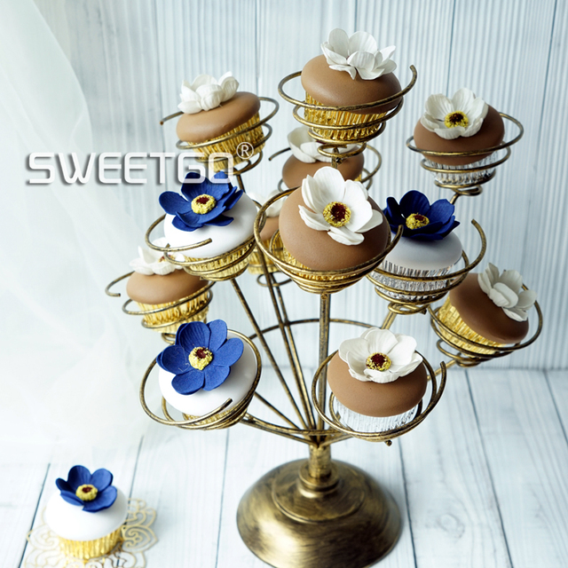 Cupcake Stand Roll Holder For Wedding Party Bouquet Shape White Pink