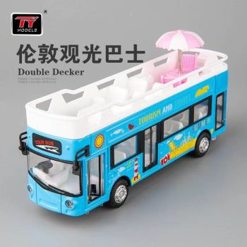 1:50 toy bus car simulation London double decker open-air sightseeing bus children sound and light pull back alloy toy car model double decker bus london bus design car toys sightseeing bus vehicles urban transport vehicles commuter vehicles