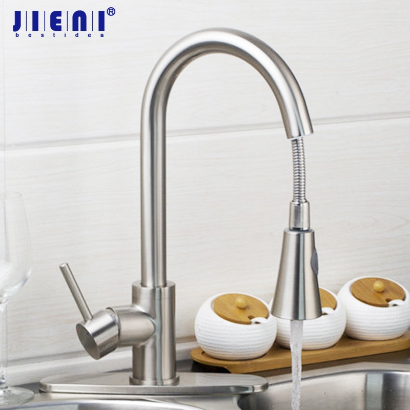 Kitchen Faucet Mixer Tap Pull out Spray brushed nickel single hand kitchen tap mixer brass & Cover Plate kitchen faucet brass brushed nickel faucet for kitchen tap pull out rotation spray mixer tap torneira cozinha