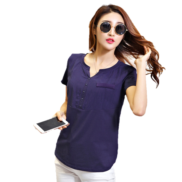 699224f75fa Women linen blouse v-neck casual shirt patchwork short sleeve solid color  women tops femme plus size XXL WH296