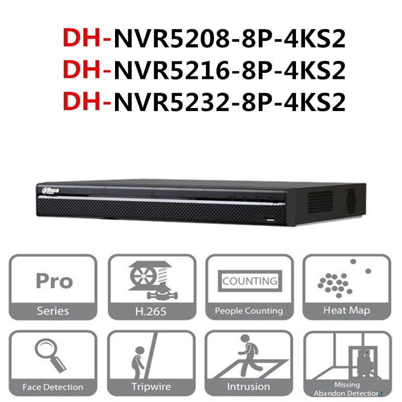 DH NVR POE NVR5208-8P-4KS2 NVR5216-8P-4KS2 NVR5232-8P-4KS2 8/16/32 CH 8 4 k & H.265 Pro Rede PoE gravador de vídeo