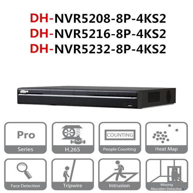 Dahua Poe Nvr NVR5208 8P 4KS2 NVR5216 8P 4KS2 NVR5232 8P 4KS2 8/16/32 Ch 8 Poe 4K & H.265 Pro Network Video Recorder