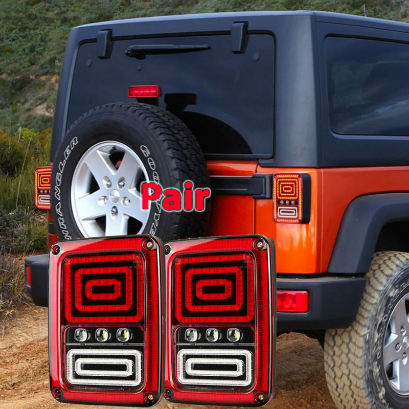 Pair Led Tail Lights with DRL Brake Rear Turn Signal Reverse Lamp for 07-15 Wrangler JK Led Brake Light Free shipping x2 for vw volkswagen polo mk5 6r hatchback 2010 2015 car rear lights covers led drl turn signals brake reverse tail decoration