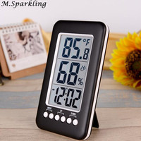 M Sparkling Digital Outdoor Indoor Thermometer Hygrometer Big LCD Display Thermo Humidity Meter Clock Calendar Alarm