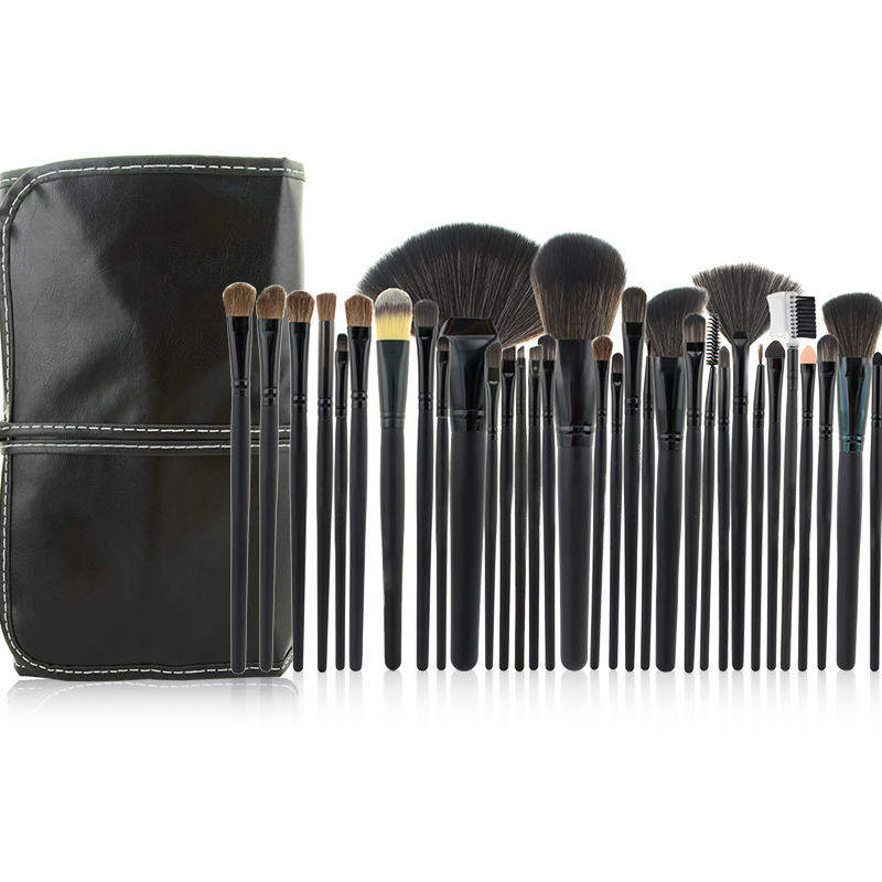 Pinkiou 32 stücke Schwarz Professional Make-Up Pinsel <font><b>Set</b></font> Kosmetik Pinsel <font><b>Kit</b></font> Fall Make-Up Pinsel <font><b>Kits</b></font> Make-Up Schönheit Gesicht Pflege werkzeug image