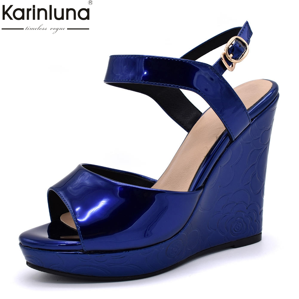 Karinluna 2018 wholesale big size 34-42 Woman ankle-strap summer sandals leisure wedge high heels party Womens ShoesKarinluna 2018 wholesale big size 34-42 Woman ankle-strap summer sandals leisure wedge high heels party Womens Shoes