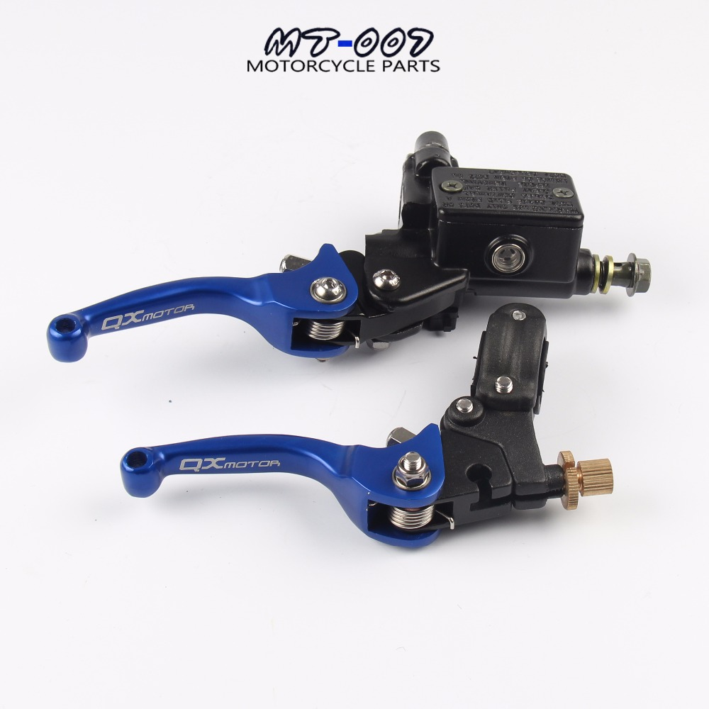 цена на ASV CNC BLUE folding brake lever clutch Lever with front pump Fit Most Motorcycle Dirt Pit Bike Motorcross CRF KLX YZF RMZ