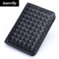 100% genuine leather Kniiting Slim Leather ID Credit Card Holder Bifold Front Pocket Wallet RFID Blocking Business card holder