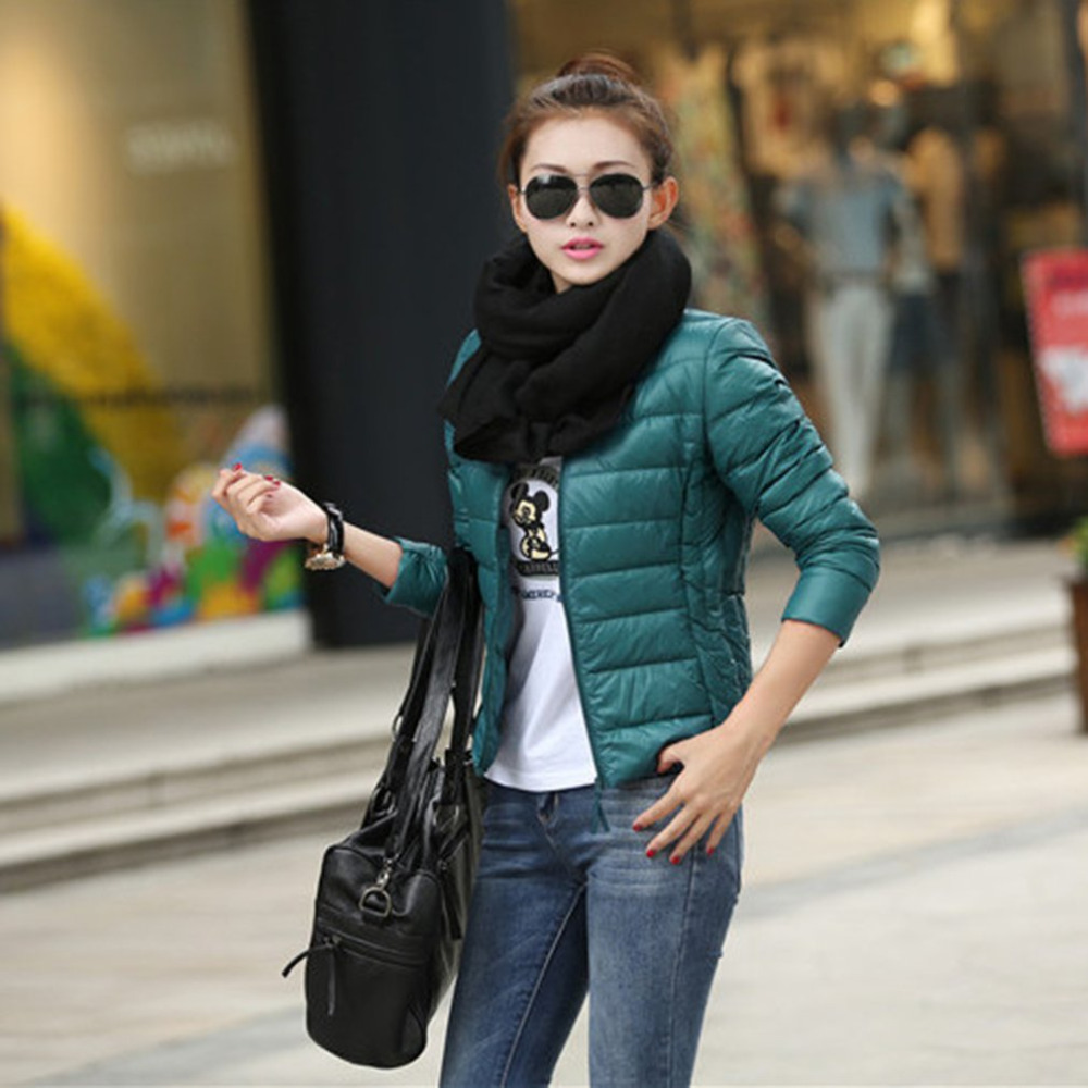 Winter Women Short   Parkas   Solid Slim Female Cotton Jacket Long Sleeve Thin Soft Jacket Women Padded Overcoat