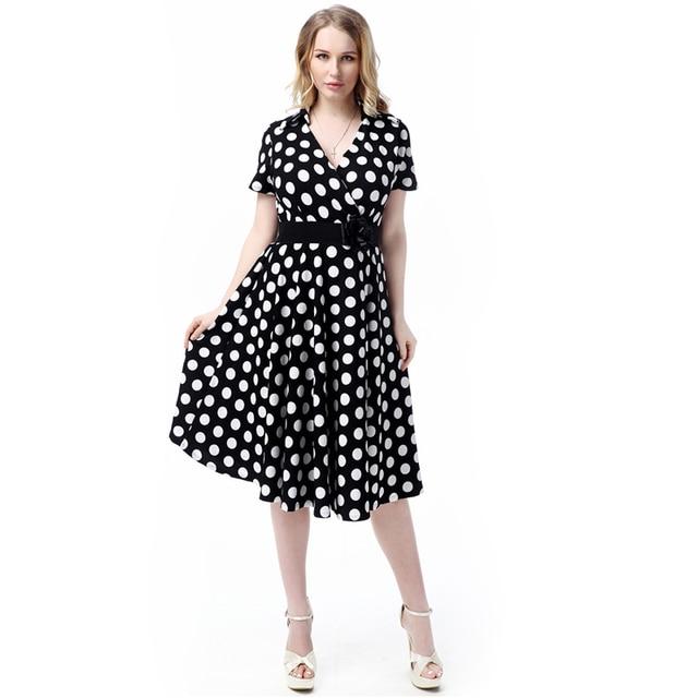 e867fdd16a5fd Springand Summer Style Retro Audrey Hepburn Vestidos Woman Vintage 50s  Dress Big Swing Polka Dot Belted