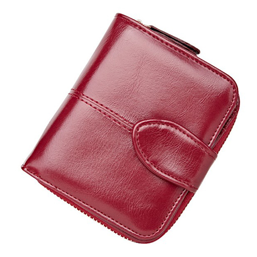Fashion Lady PU leather short paragraph retro couples two small wallet buckle wallet Wine red