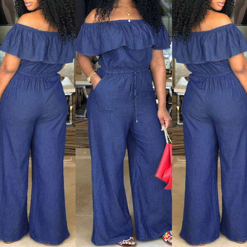 Women Off Shoulder Wide Leg Romper Jumpsuit Casual Long Trouser Overall Pants Ruffle Collar Loose Empire Jumpuits