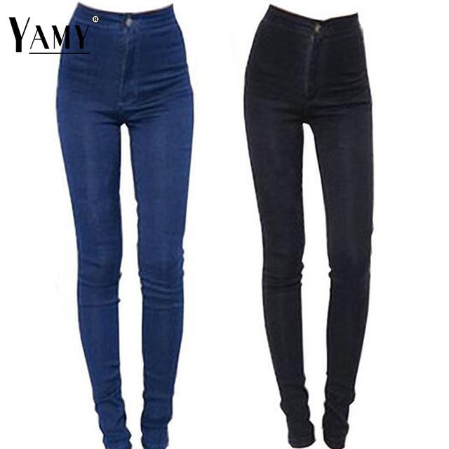 Otoño 2017 moda vintage denim jeans mujer lápiz denim stretch flaco ocasional pantalones vaqueros de cintura alta pantalones de las mujeres Más El tamaño
