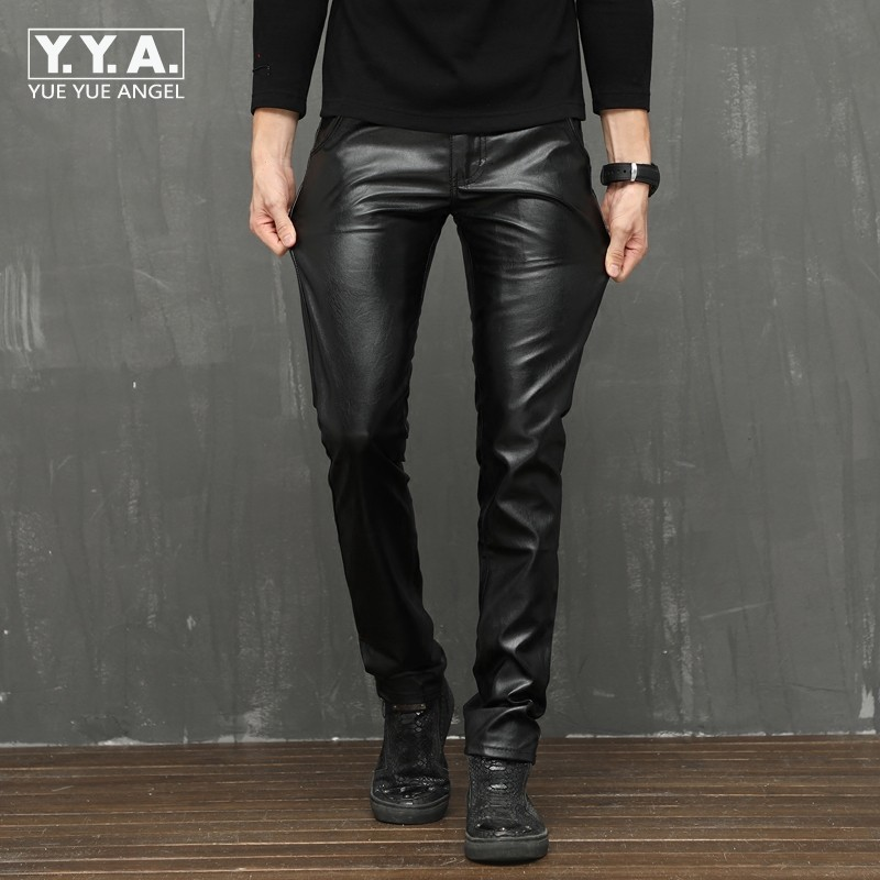 High Quality Stretchy Mens Motorcycle Pu Leather Pants Korean Winter Fleece Lining Male Trousers Slim Fashion Punk Skinny Pants