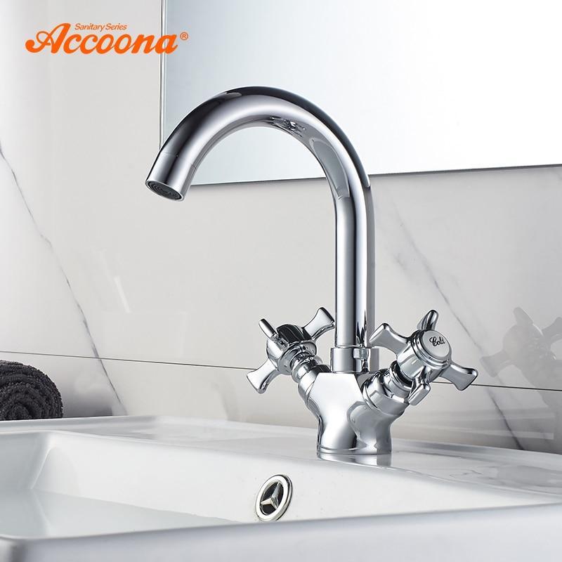 Accoona смеситель для раковины хромированный кран с поворотом на 360 градусов водопроводный кран с двойной ручкой для холодной и горячей воды ...