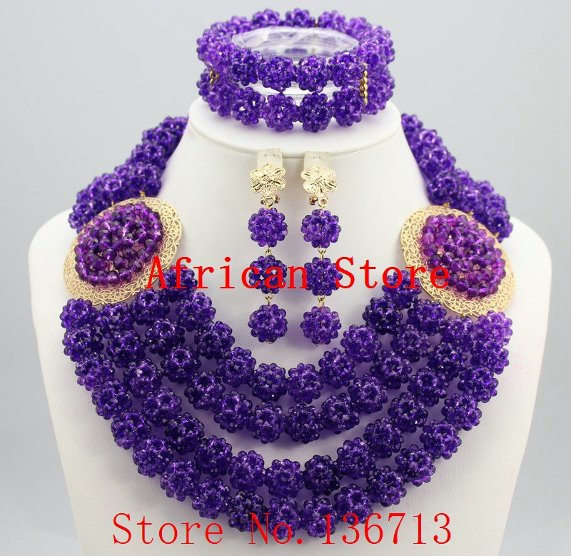 Pretty Nigerian Wedding African Beads Jewelry Set Crystal Necklace Bridal Jewelry Sets Statement Necklace Free Shipping BC401-4