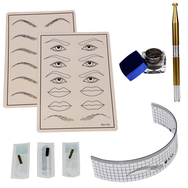 2017 New Arrival Permanent Makeup Microblading Eyebrow Tattoo kit Pen Needle Paste Skin Ruler Beauty 161104