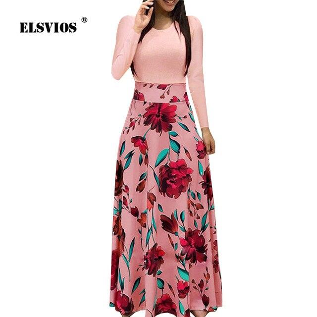 de26b045b7 ELSVIOS 2XL Women Floral Print Patchwork Tunic Beach Dress Summer Autumn  Long Sleeve Party Maxi Dress Casual O Neck Long Dresses