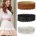 2016 Womens Vintage PU Leather Hollow Flowers Lace Bowknot Wide Waist Waistband Belts