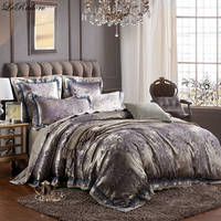 LeRadore 4/6 Pieces Luxury Jacquard Bedding Sets Silk Cotton Bed Set Duvet Cover Set Bed in Bag King Size Queen Size 25 Colors