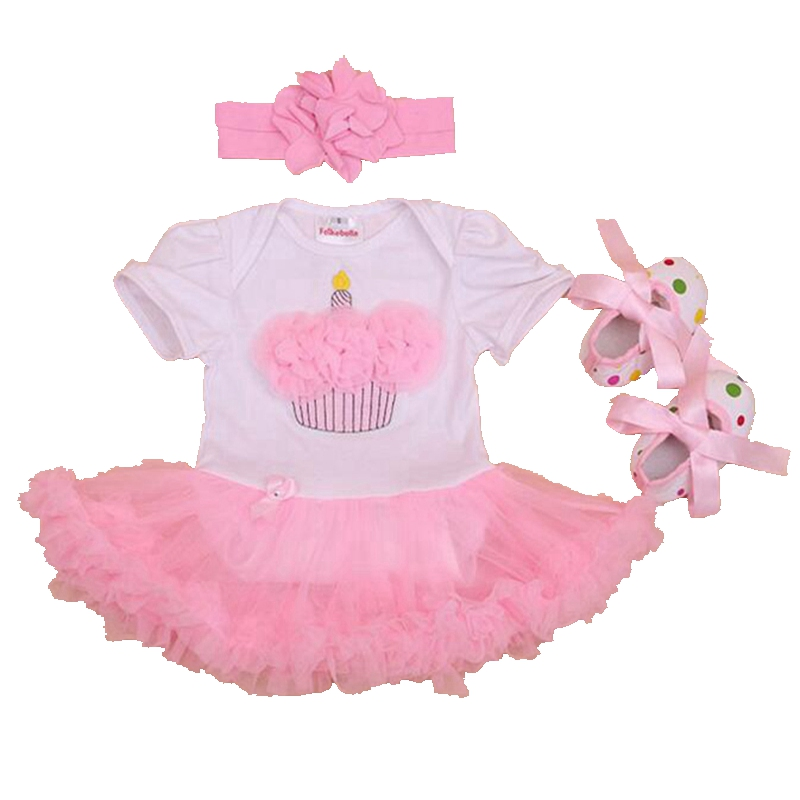 Cake Applique Girls Birthday Outfits Lace Petti Rompers Dresses Crib Shoes Headband Baby Girl Summer Clothes Toddler Clothing