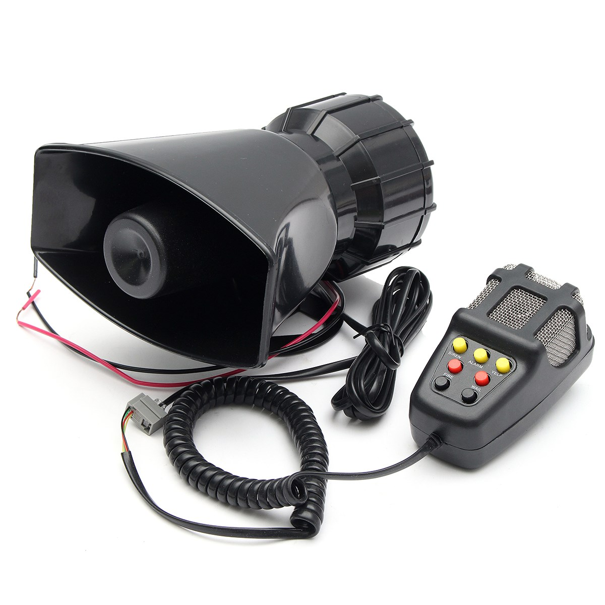 New 12V 115db Loud Air Horn Siren For Car Boat Truck 7 Sounds PA System w/Mic Black Universal