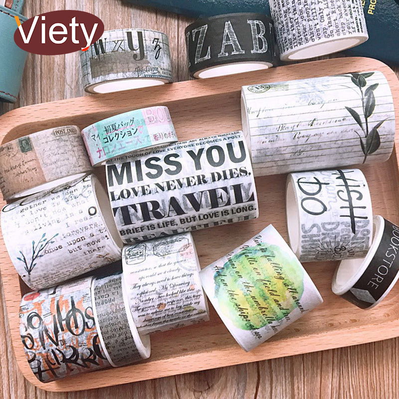 Vintage Newspaper English Poetry Student Washi Tape DIY Decoration Scrapbooking Planner Masking Tape Adhesive Tape Label Sticker