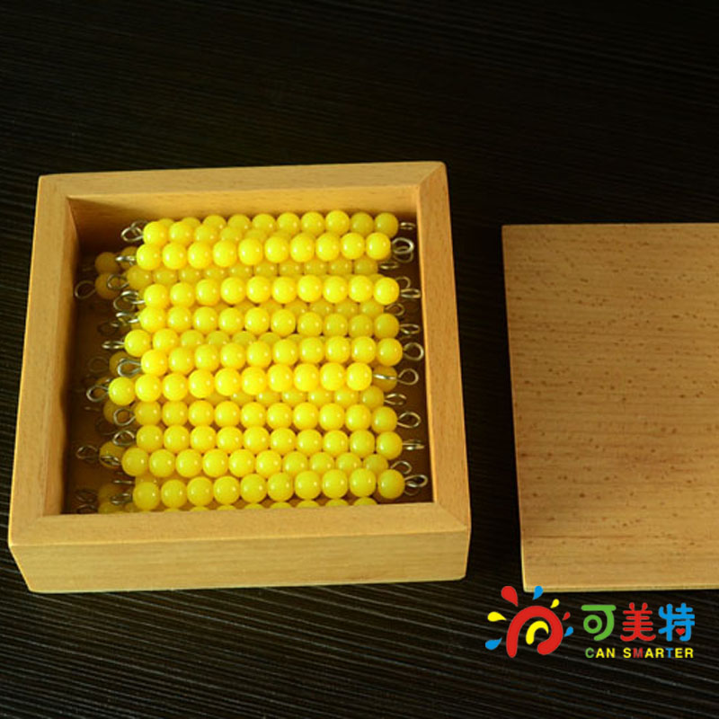 Montessori Education 45 strings of Yellow Beads  Beech Wood Box Math toys Early educational toys Free Shipping Can Smarter montessori education 0 10 numbers odevity pedestal beech wood math toys early educational toys free shipping