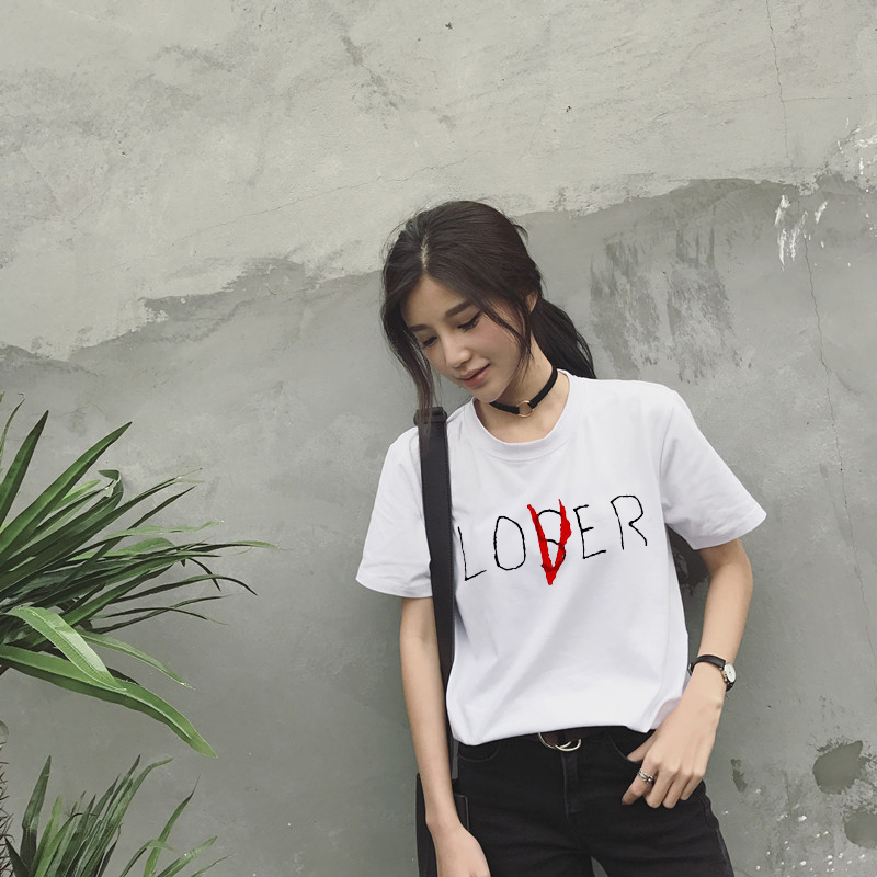 Female t shirt New Movie It Losers Club Chiffon Cotton Short Sleeve Loser Lover It Inspired Harajuku Chiffon Tops in T Shirts from Women 39 s Clothing
