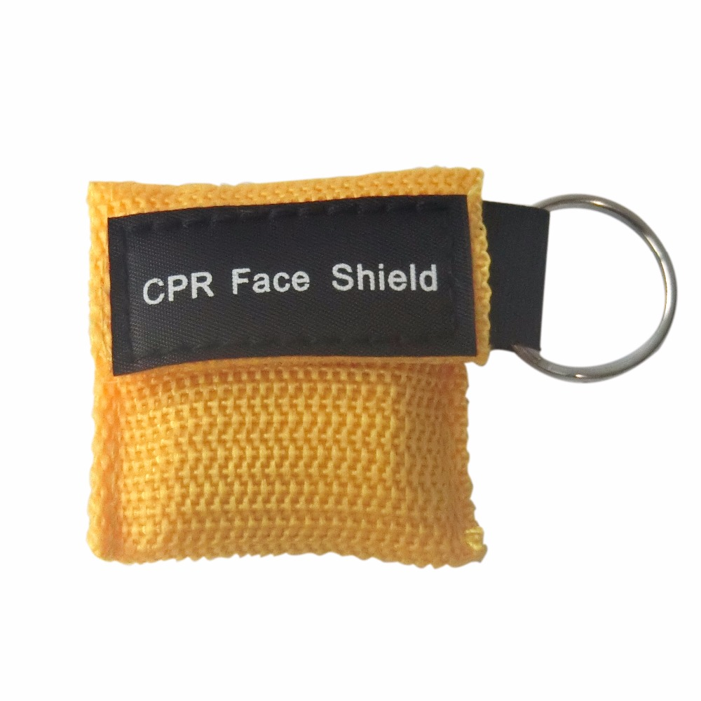 500Pcs Portable Emergency CPR Mask CPR Face Shield With Keychain One-way Valve For First Aid Training Yellow Nylon Bag Wrapped 200pcs pack cpr mask with latex gloves rescue face shield keychain one way valve disposable first aid resuscutator save cprmask