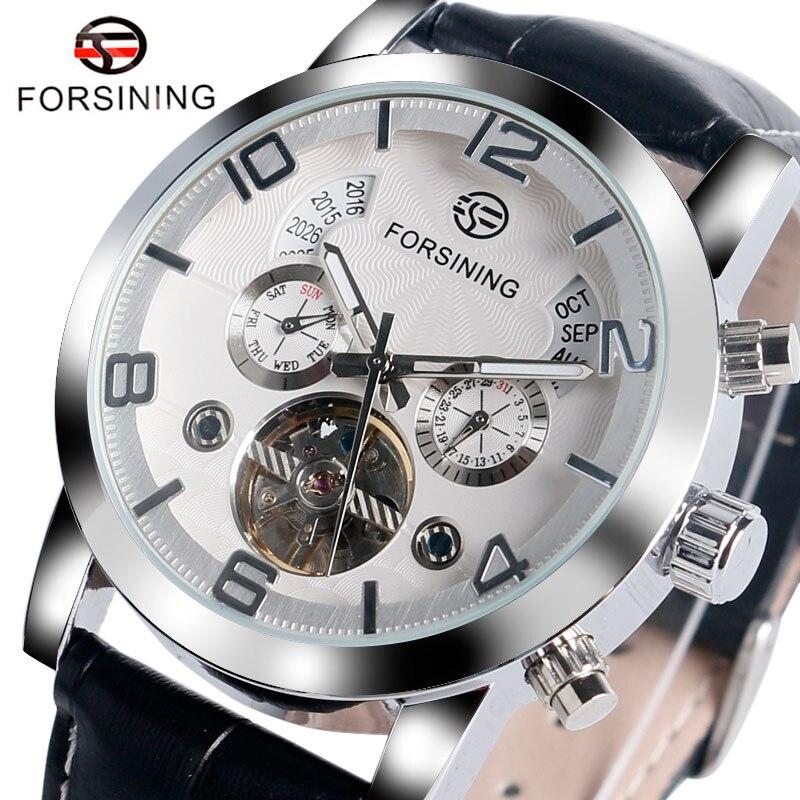 где купить FORSINING Luxury Dress Genuine Wrist Watch Men Analog Modern Day Date Leather Strap Mechanical Self-winding Gift W153402 по лучшей цене
