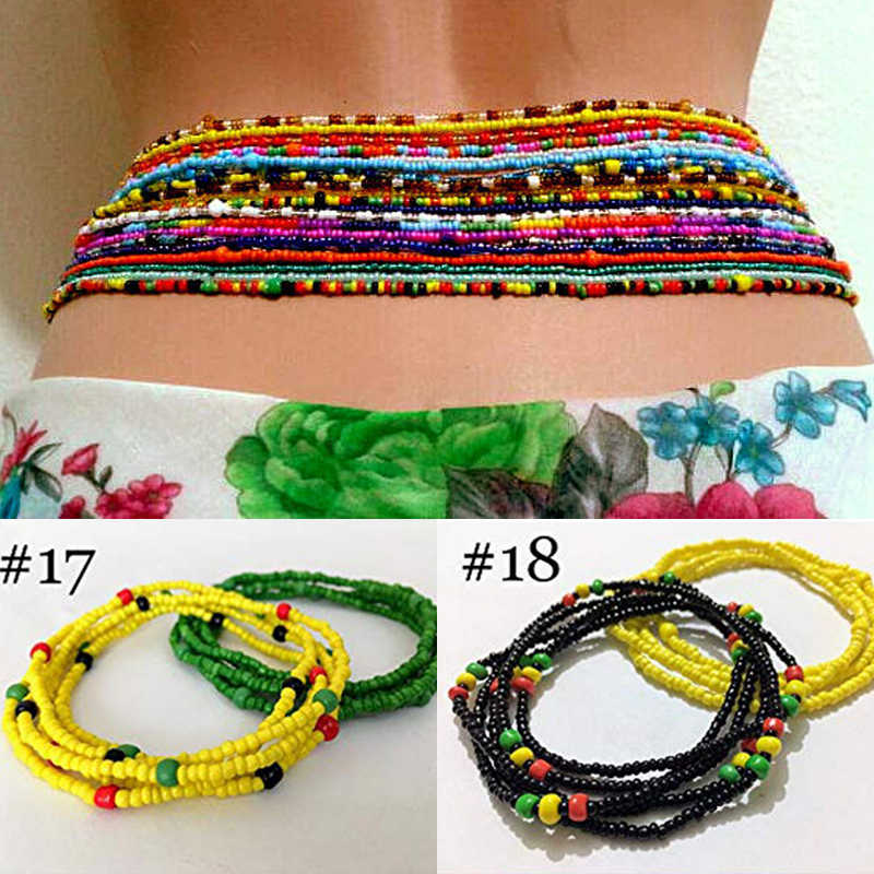 Body Jewelry Double Strand Waist Beads Belly Beads Jewelry Belly Chains Elastic Waist Chain Waists Bead jewelry Belly Chains