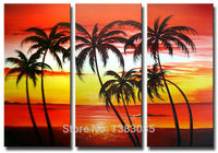 Abstrata pintado mão da praia e palm tree pintura a óleo moderna paisagem oceano Da Arte Da Lona 3 Peça Wall Decor Imagem Set Para Casa