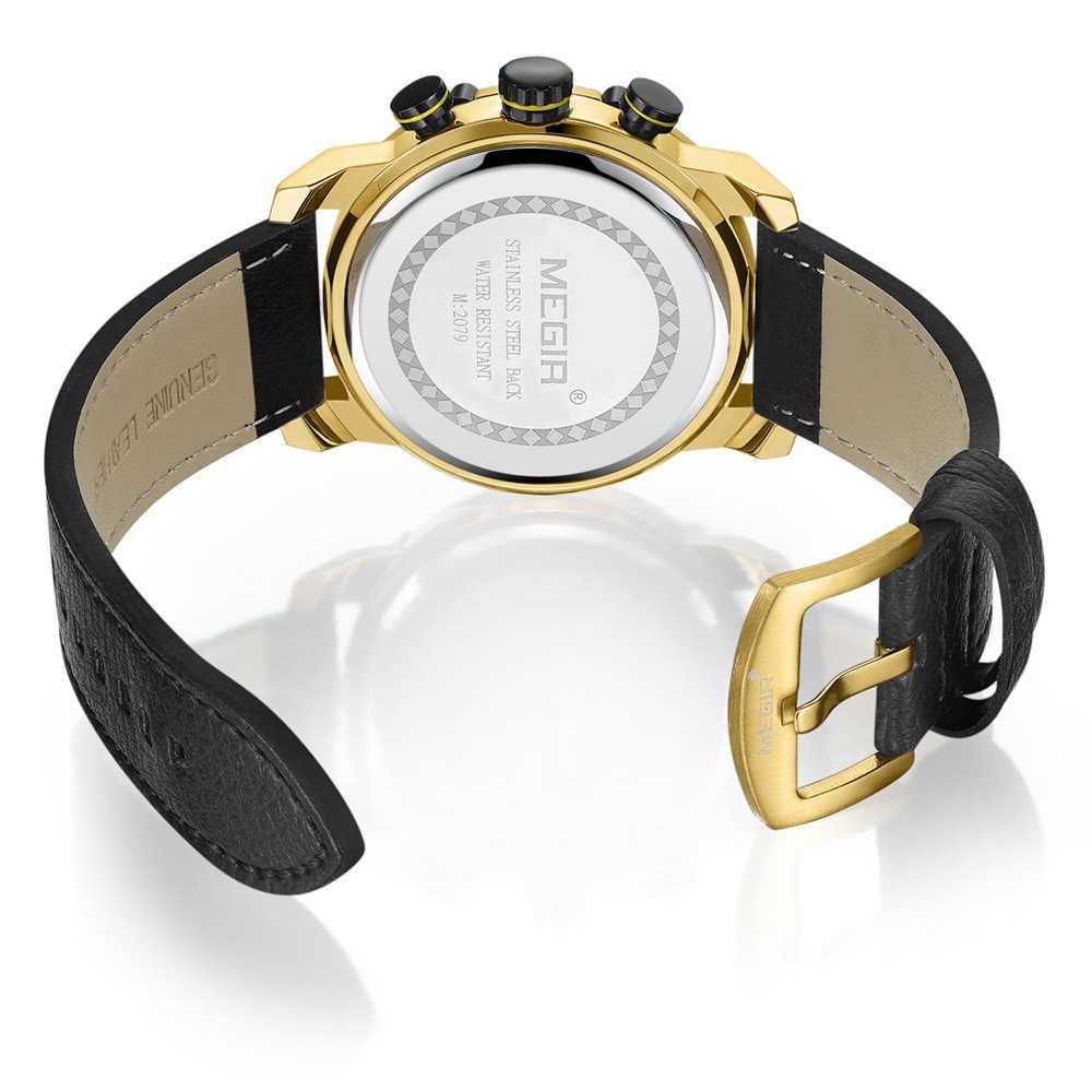 MEGIR marque de luxe or hommes montre-bracelet à Quartz militaire mode tenue décontractée montre de Sport d'affaires hommes horloge Relogio Masculino