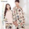 Pijamas Para Las Mujeres de Invierno Engrosamiento de Coral Polar Amantes de la ropa de Dormir Pijamas Para Hombre Personaje de manga Larga Pijama Conjunto de salón de Las Mujeres